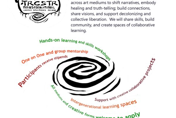 CALL FOR PARTICIPANTS! TRCSTR: Transformational Creative Strategies Training TRCSTR is focused on building capacity as Hybrid Practitioners: visionary creatives working across art mediums to shift narratives, embody healing and truth-telling; build connections, share visions, and support decolonizing and collective liberation. We will share skills, build community, and create spaces of collaborative learning. Program Dates: June-October 2021. Sessions will be held both online and in social distanced outdoor settings. For more information or to apply visit: https://hope-community.ourpowerbase.net/ trcstr-application Contact: POV@hope-community.org
